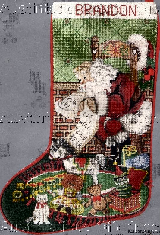 Rare Santa's Toy List Needlepoint Christmas Stocking Kit Train Doll Bear Cat