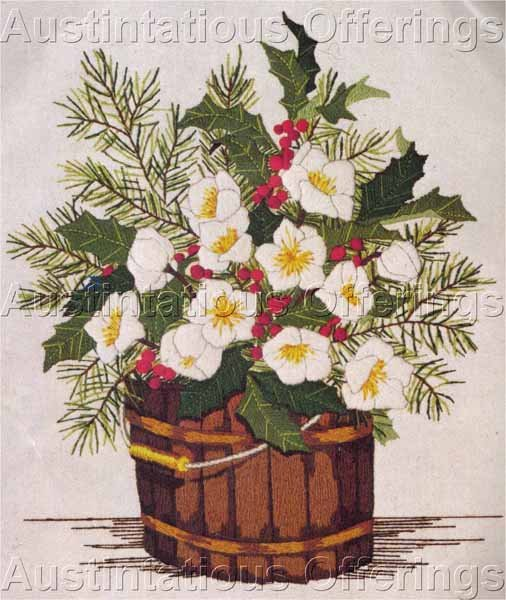 Rare Winter Christmas Rose Crewel Embroidery Kit Evergreen Bouquet
