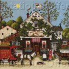 Charles Wysocki  Folk Art Town Stamped Cross Stitch Kit Village Coffee Shop