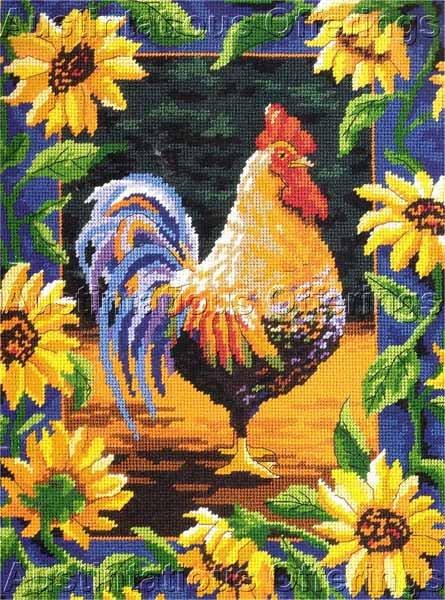 Rare Julie Ueland Sunflower Rooster Needlepoint Kit Bold Cockerel