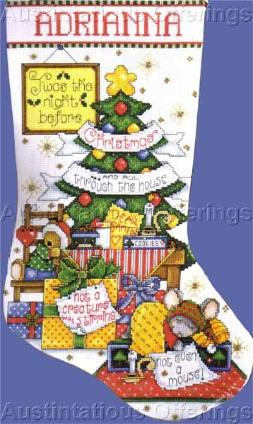 Joan Elliott Christmas Mouse Counted Cross Stitch Stocking Kit