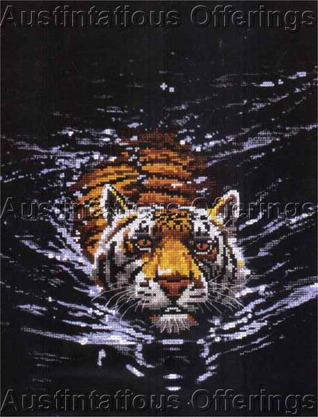 Dramatic Big Cat Midnight Predator No Count Cross Stitch Kit Swimming Tiger