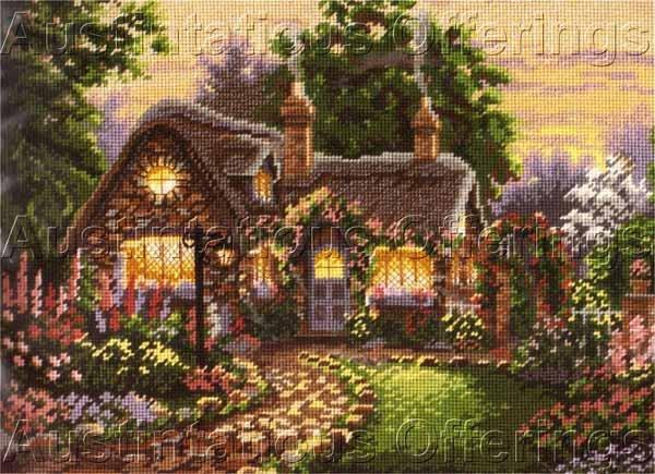 Rare Lisa Burns Thatched Cottage Needlepoint Kit Twilight Garden