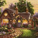 Rare Lisa Burns Thatched Cottage Needlepoint Kit Twilight Garden