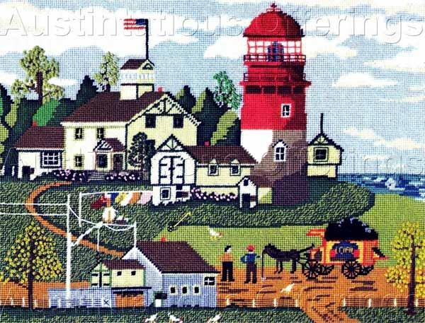 Rare Wysocki Red White Lighthouse Needlepoint Kit Light Keeper's Home