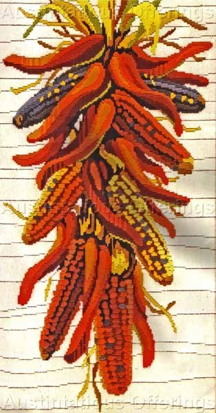 Rare Reinardy Southwestern Vegetable Rope Longstitch Needlepoint Kit Chili Peppers and Corn