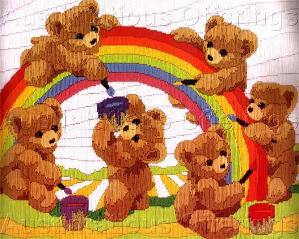 Bright Rainbow Bears Longstitch Needlepoint Kit Reinardy