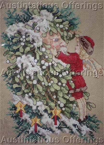 Rare Giampa Victorian Postcard Mistletoe Father Christmas Cross Stitch Kit Winter Fairy
