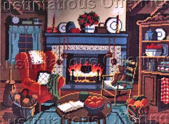 COZY WARM WINTER FIREPLACE NEEDLEPOINT KIT HOME HEARTH