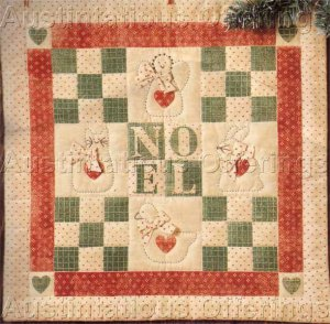 Rare Antiqued Quilted Christmas Toys Banner Stitchery Kit Suitable for Beginners