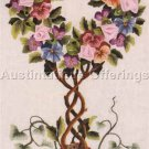 Rare LeClair Pansy Floral Topiary Crewel Embroidery Kit Silk Ribbon