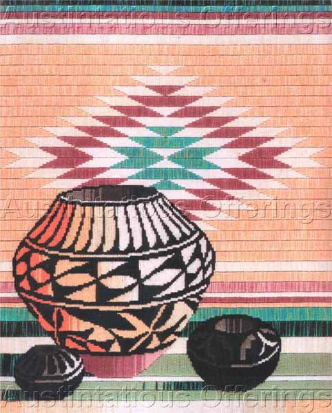 RARE REINARDY SOUTHWEST STILL LIFE  LONGSTITCH NEEDLEPOINT KIT NATIVE  POTTERY WOVEN BLANKET