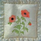 Rare Jean Fox Candlewicking Crewel Embroidery Floral Pillow Kit Poppies
