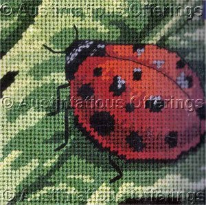 RARE SPOTTED BEETLE MINI NEEDLPOINT KIT LADYBUG ON LEAF PERFECT FOR BEGINNERS