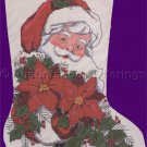 Rare Bonnie S Disotell Santa with Poinsettia Garland Cross Stitch Stocking Kit