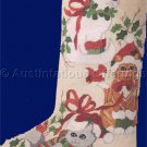 Three Country Feline Friends Cross Stitch Christmas Stocking Kit Kitty Cats