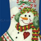 Diane Knott Chubby Snowman  Bright Red Heart Needlepoint Stocking Kit Peppermints Candy
