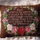 Rare Serenity Prayer Crewel Embroidery Pillow Kit Garland of Roses Inspirational Verse