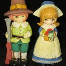 Vintage Mid Centry Napcoware porcelain Pilgrim Boy and Girl Figurines