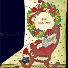 RARE SANTA CLAUS CROSS STITCH STOCKING KIT ALL TUCKERED OUT IN ROCKING CHAIR