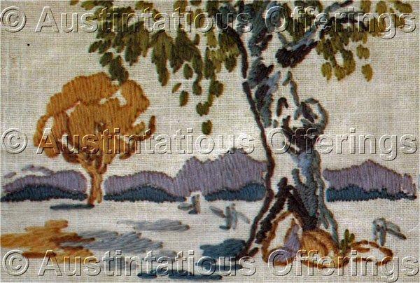 Rare australian plains crewel embroidery kit landscape