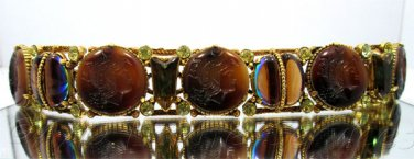Rare Vintage Florenza Intaglio Bracelet with Earring Set Rhinestones Brown Slag Watermelon Glass