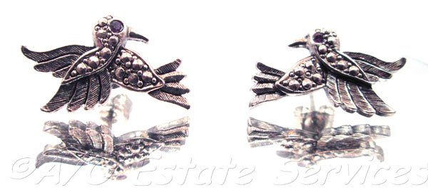 Vintage Signed Avon Silver Hummingbird Earrings