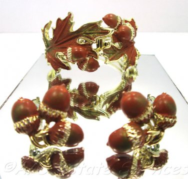 Rare Vintage Enameled Acorn Oak Leaf Bracelet Earring Set Autumn Cuff