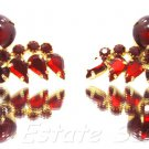 Rare Vintage Red Rhinestone Cabochon Clip Earring Set Unsigned