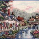 Rare Carl Valente Artwork Reproduction Cottages along River Beck Cross Stitch Kit Gold Collection