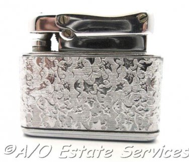 Rare Signed Vintage Colibri by Kreisler Lighter Crackle Chrome Climbing Vine Design Original Box