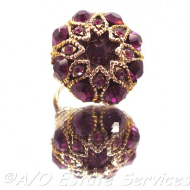 Rare Vintage Gold Tone Faux Amethyst Adjustable Dome Ring Striking Summer Gatsby Bling