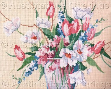 Rare Barbara Mock Mixed Tulip Bouquet Cross Stitch Kit Abundant Summer  Flower Vase