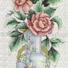Rare LeClair Oriental Porcelain Vase Cross Stitch Kit Peonies Elsa Williams Blackwork