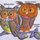 Unique Trapunto Stitchery Kit Blue Owl Pair Quilted Crewel Embroidery