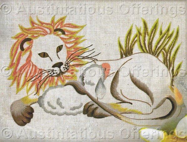 Rare King Peaceable Kingdom Crewel Embroidery Kit Lion Sleeping Lamb Williams