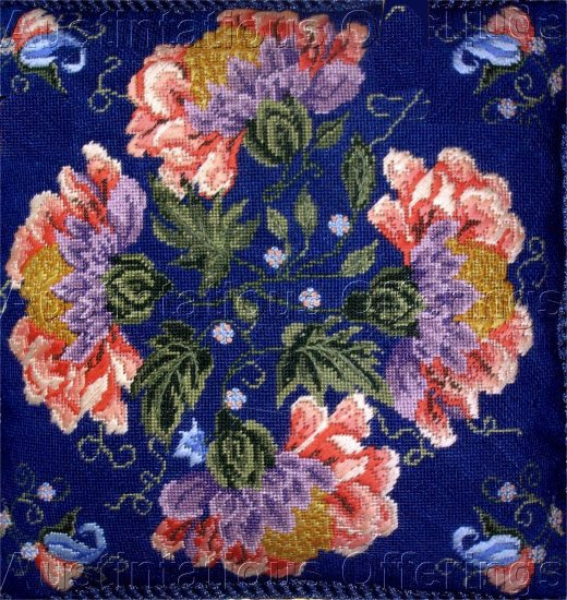 STRIKING BLUE BACKGROUND JACOBEAN FLORAL TEXTURED NEEDLEPOINT PILLOW KIT