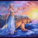 Bente Schlick Artwork Repro Ice Queen Polar Bear Cross Stitch Kit Aurora Borealis