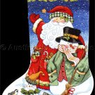 Vicky Howard Art Country Snowman Snow Cat  and Santa Cross Stitch Stocking Kit