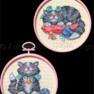 Vintage Set of Two Playful Kittens Counted Cross Stitch Kit