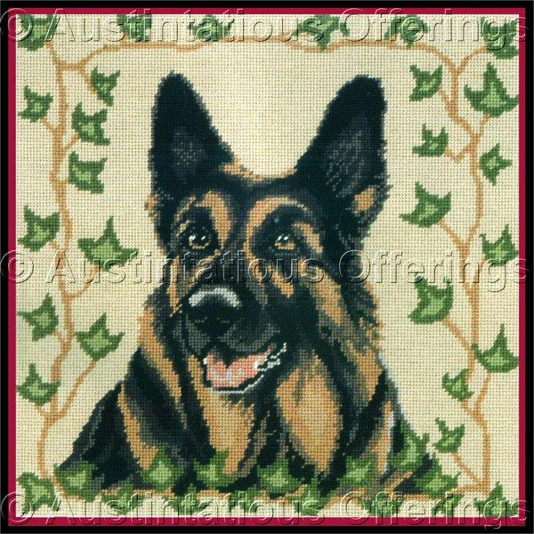 SARA DAVENPORT VICTORIAN DOG TAPESTRIES GERMAN SHEPHERD  NEEDLEPOINT KIT