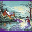 Wintry Cottage Cross Stitch Kit  Steve McLoughlin Snowman