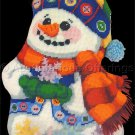 Rare King Christmas Trompe L'Oeil Frosty Snow Man Needlepoint Kit Doorstop