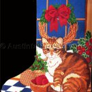 Fraser Artwork Repro Orange Tiger Cat and Holly Cross Stitch Stocking Kit