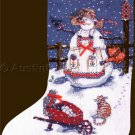 Rare Sandi Gore Evans Lady Snowman Cross Stitch Christmas Stocking Kit Snowy Garden