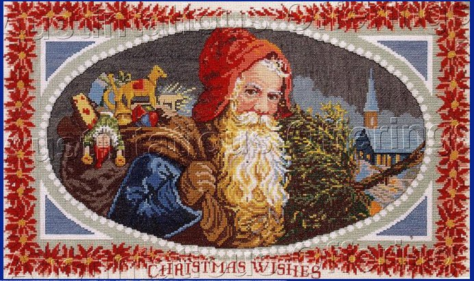 RARE VINTAGE POSTCARD SANTA CLAUS CHRISTMAS CROSS STITCH KIT SAINT NICHOLAS