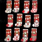 Rare Teddy Bear Ornaments Set Cross Stitch Kit Toys Treats Mini Stocking Designs