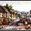 Rare Carl Valente Artwork Reproduction Village Memories Cross Stitch Kit Gold Collection