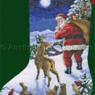 HAL FRENCK WOODLAND SANTA  CROSS STITCH KIT WINTER FOREST FRIENDS MIDNIGHT ARRIVA