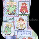 RARE CAROL BRYAN CHRISTMAS CROSS STITCH STOCKING KIT FOLK ART ANGELS PEACE NOEL JOY